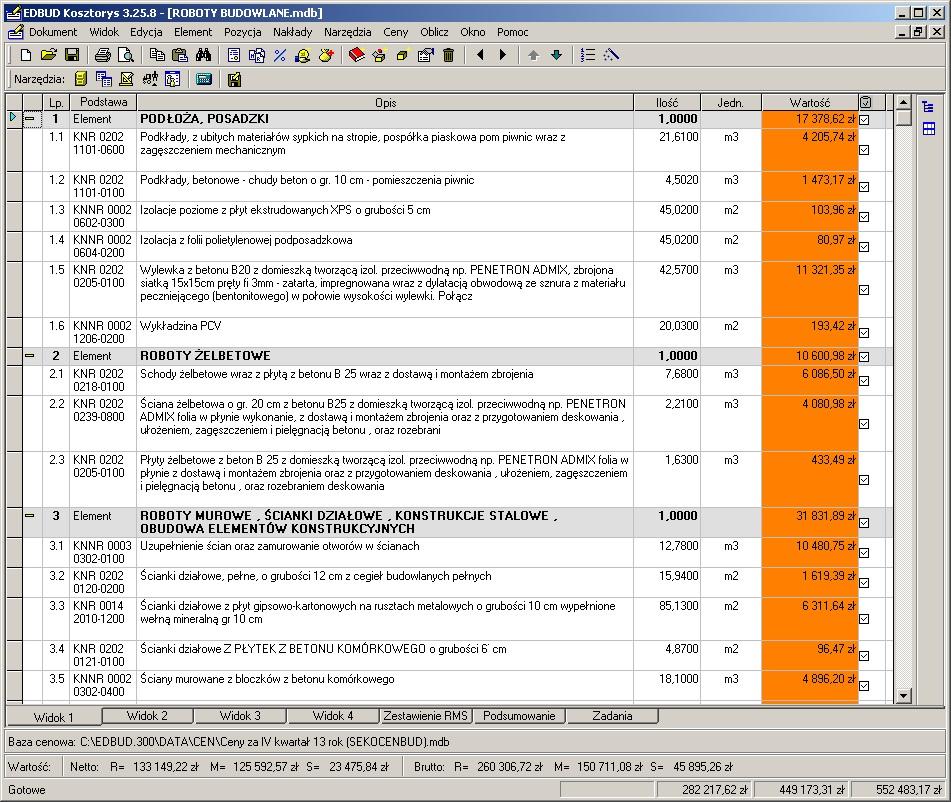 MTM Digital,program do obliczania wartości kosztorysowej inwestycji Fobos WKI